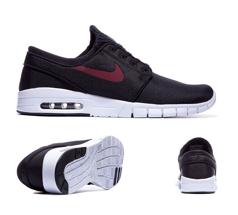 Nike Stefan Janoski Max Baskets Noir/Team Rouge/Blanche qualité absolue  - Nike Stefan Janoski Max Baskets Noir/Team Rouge/Blanche qualité absolue-01-1